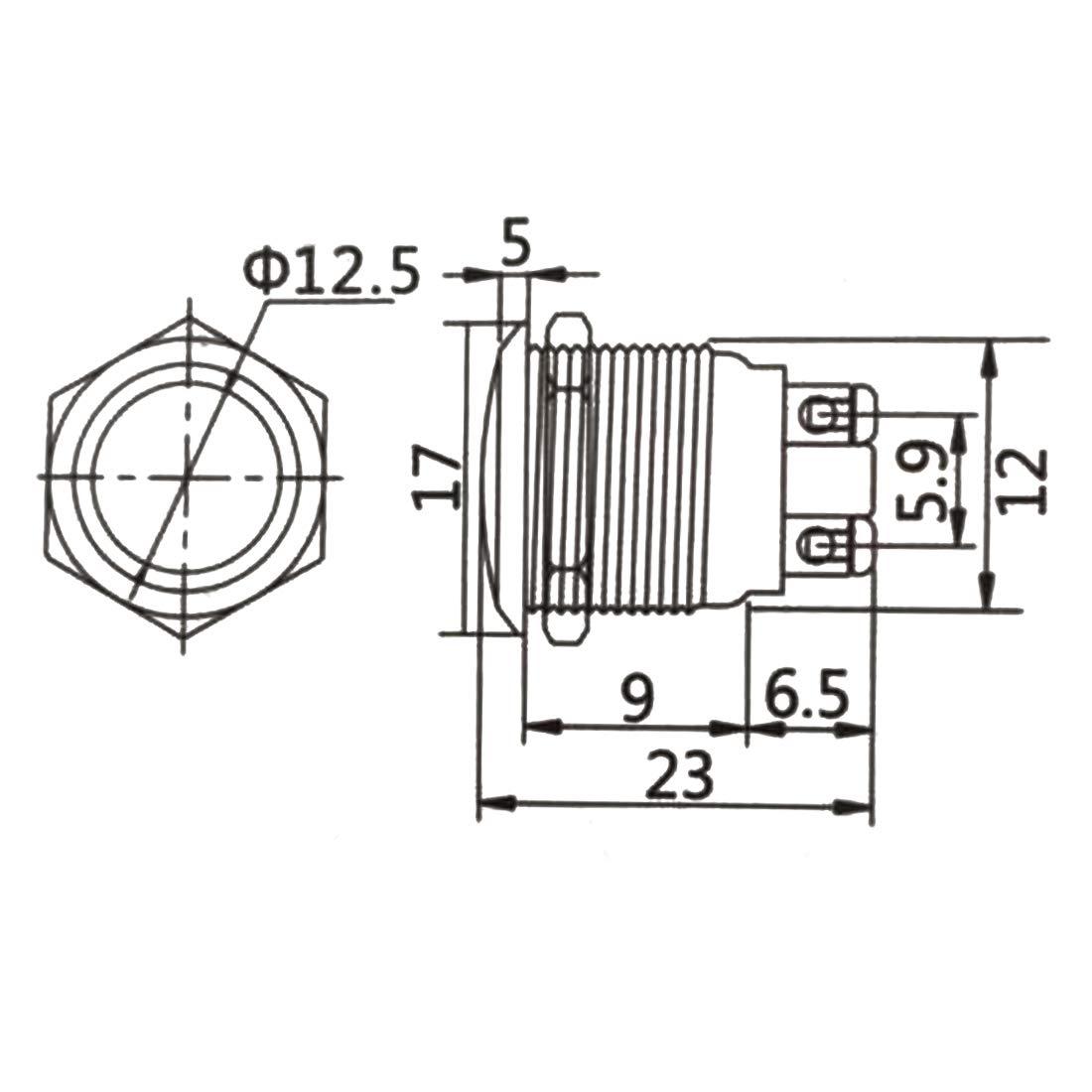 Larcele 12mm Bot/ón Impermeable Mini Metal Actualmente Pulsar Pulsador con Tornillo,10 Piezas jsankg-13,Rojo