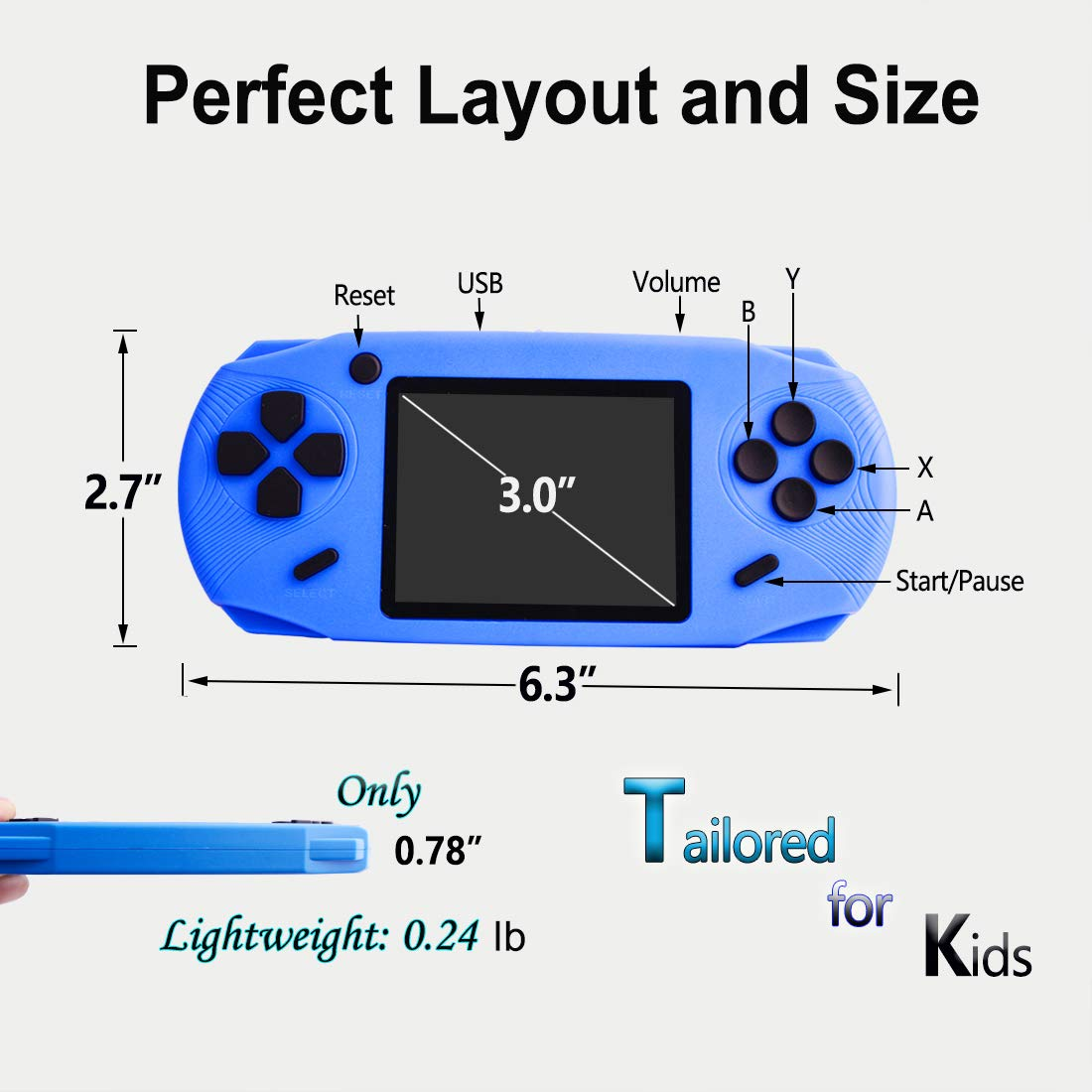 Black ZHISHAN16 Bit Handheld Game Console for Kids Adults 3.0 Large Screen Preloaded 100 HD Classic Video Games Seniors Electronic Handheld Games Player Boys Girls Birthday Xmas Present