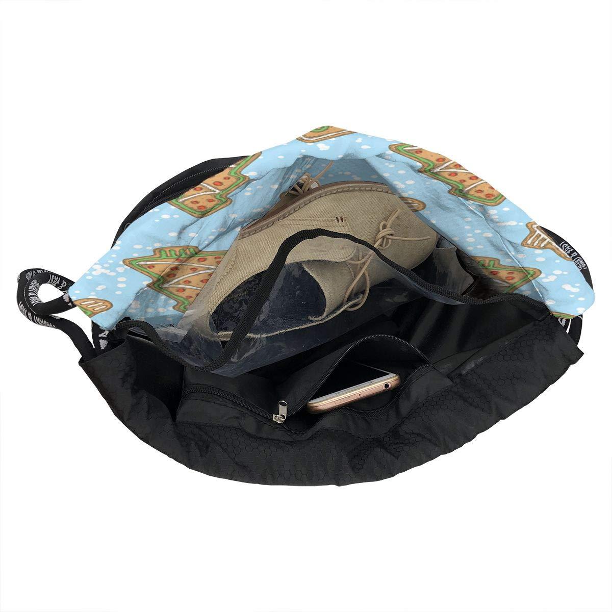 HUOPR5Q Gingerbread-Man-House-and-Tree Drawstring Backpack Sport Gym Sack Shoulder Bulk Bag Dance Bag for School Travel