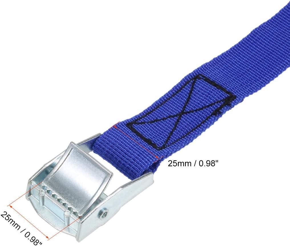 azul 0.5Mx25 mm sourcing map Correa de amarre de carga de atadura con hebilla de leva de 250Kg de carga de trabajo 2 unidades