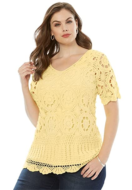 404d9aa3b09b5 Roamans Women s Plus Size Crochet Sweater - Banana