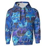 Yoizora Indigo Cats Men's Fit Hoodie Hooded Sportswear