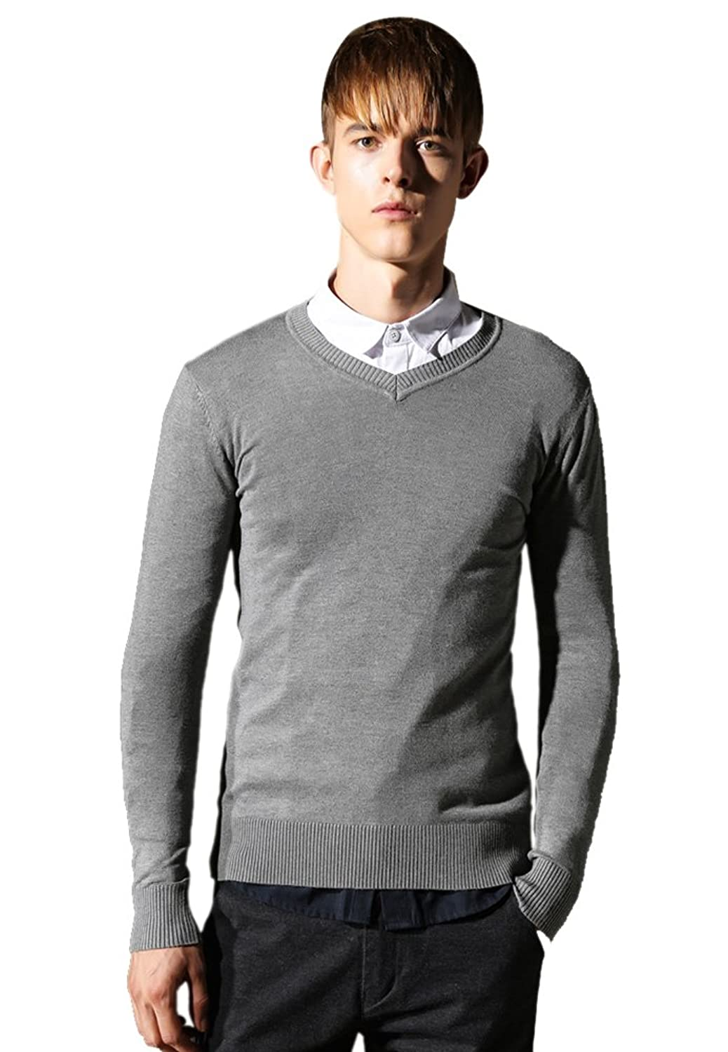 Insun Men's Solid Color V Neck Slim Fit Basic Pullover Sweater