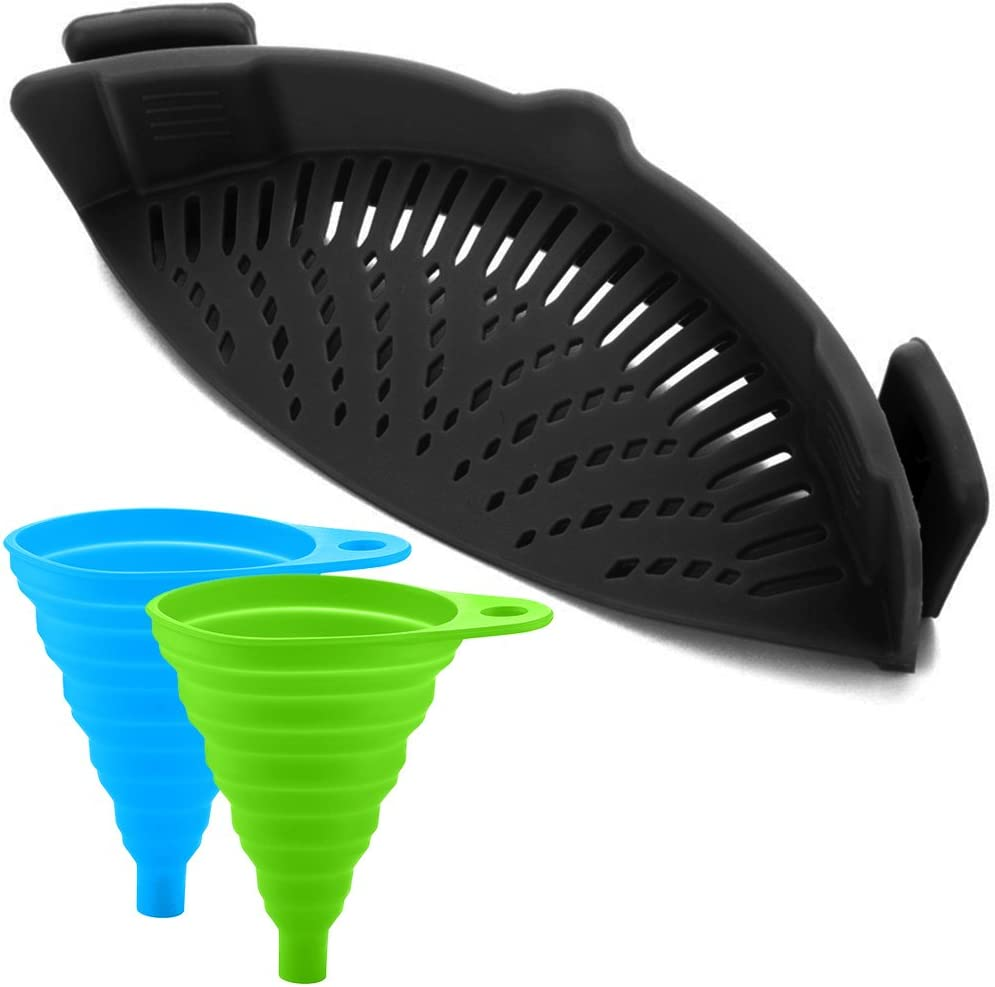 Silicone Snap Strainer with 2 Collapsible Funnels, FineGood Hands-free Clip-on Heat Resistant Colander Pour Spout for Pasta Vegetable Noodles Pot bowl Pan - Black