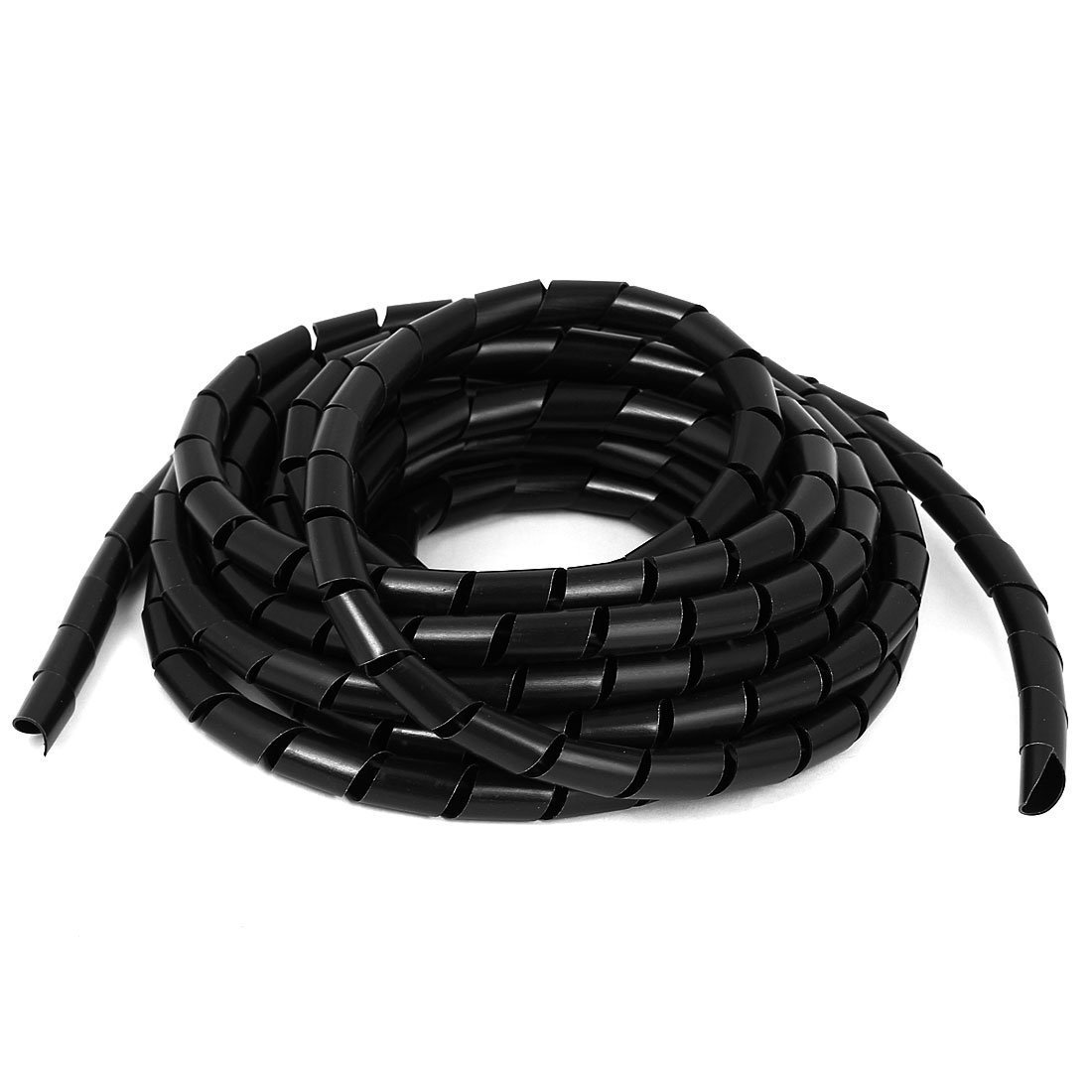 Copapa 15M 49 Ft PE Black Polyethylene Spiral Wire Wrap Tube PC Manage Cable 10mm / 0.39'' for Computer Cable, Car Cable (Dia 10MM-Length15M, Black)