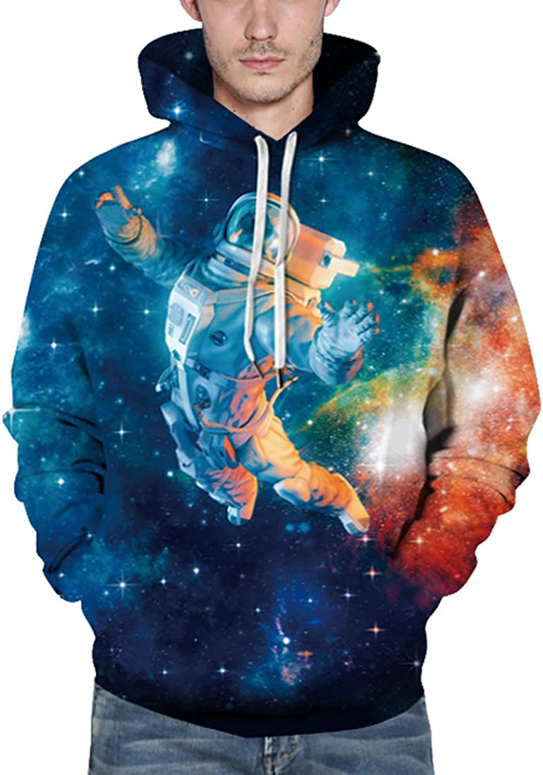 Rainbow Town Unisex Funny Astronaut Space Suit Pattern Hoody Haha Clown Big Mouth Hooded Pullover with Big Pockets S-5XL