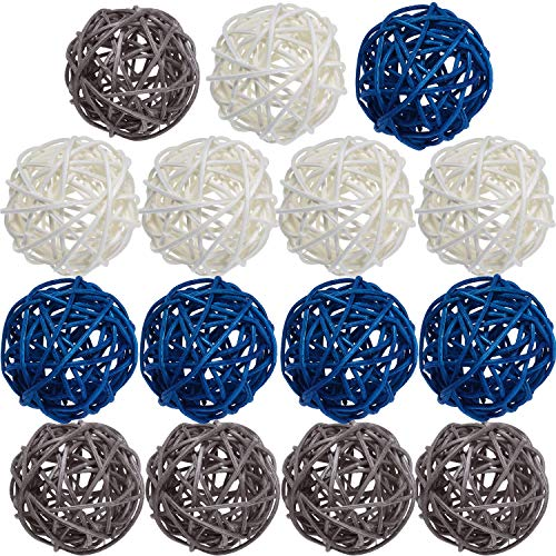 Yaomiao 15 Pieces Wicker Rattan Balls Decorative Orbs Vase Fillers for Craft, Party, Wedding Table Decoration, Baby Shower, Aromatherapy Accessories, 2 Inch (Blue Gray White)