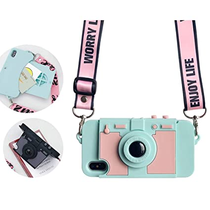 sale retailer bbca2 0af55 UnnFiko Wallet Case for iPhone 6 Plus/iPhone 6s Plus, Cute Camera Design,  Purse Flip Card Pouch Stand Holder Cover Case with Long Shoulder Strap ...