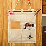 remote control broom - Gessppo Decor Cotton Tower Storage Bag 5 pocket Wall Hanging Bags Multi-layer Fabric