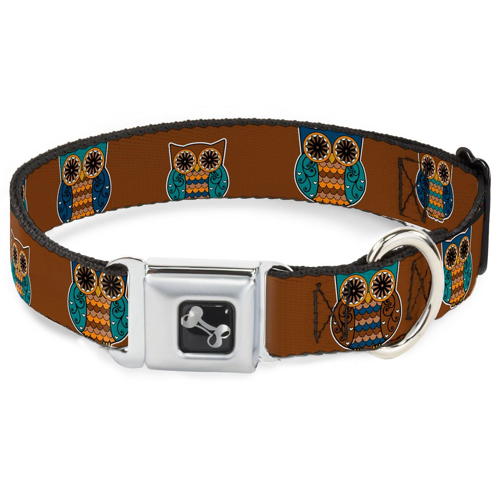 Buckle-Down 11-17  Owls Brown Pastel Dog Collar Bone, Medium