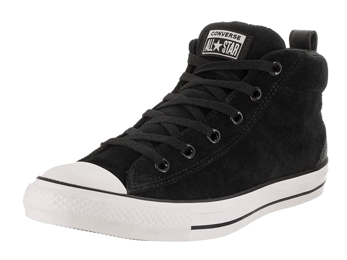 Amazon.com | Converse Unisex Chuck Taylor All Star Street Suede Mid Top Black/Black White Sneaker - 8 Men - 10 Women | Fashion Sneakers