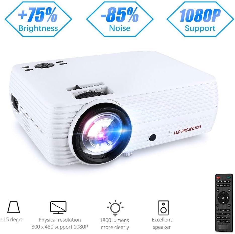 WMWHALE Proyector LCD portátil Mini proyector 1800 lúmenes LED ...