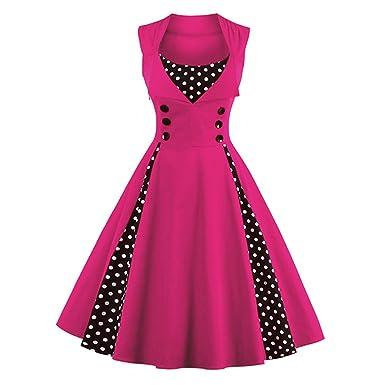 Dissa Damen 50er Retro Cocktail Vintage Rockabilly Kleid,Rose ...