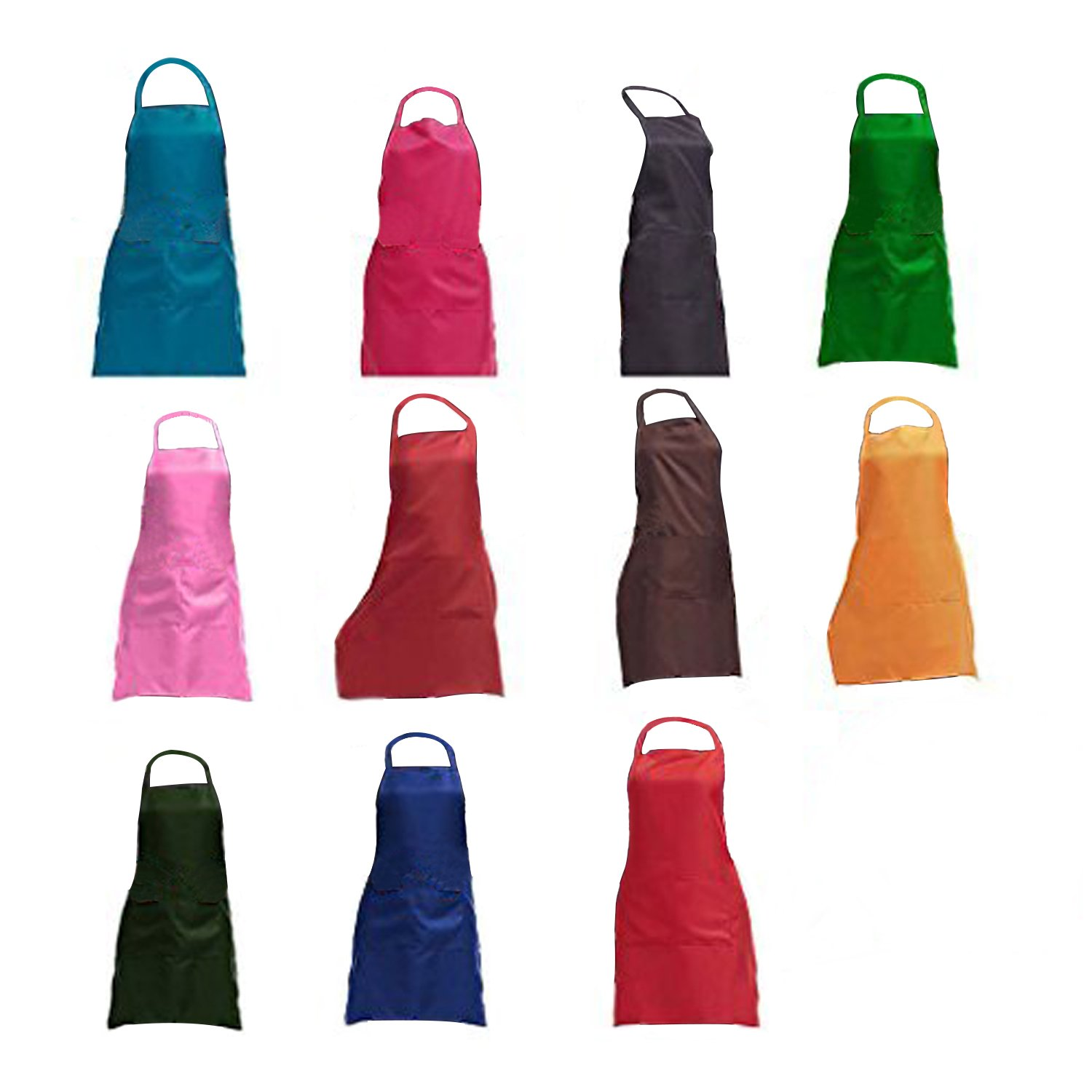 TRENDBOX Total 11 PCS Plain Color Bib Apron Adult Women Unisex for Waist Size 23'' to 35'' Durable Comfortable with Front Pocket Washable for Cooking Baking Kitchen Restaurant Crafting by TRENDBOX