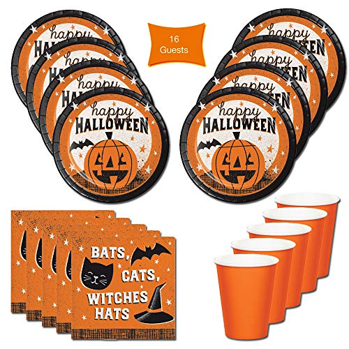 Halloween Party Supplies Plates Pumpkin Bats Cats Witches Hat- For 16 Guests - Includes Lunch Plates, Beverage Napkins and Cups. Halloween Party Tableware Perfect for Halloween Parties!!