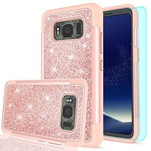 Price comparison product image Galaxy S8 Active Glitter Case (Do Not Fit S8) with HD Screen Protector, LeYi Bling Cute Girls Women [PC Silicone Leather] Heavy Duty Protective Phone Case for Samsung Galaxy S8 Active TP Rose Gold