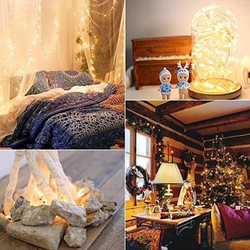 CrazyFire LED String Lights, Fairy String Light 33ft 100 LEDs Waterproof Decorative Starry Lights for Bedroom, Patio, Parties (Copper Wire Lights, Warm White) by CrazyFire (Image #4)