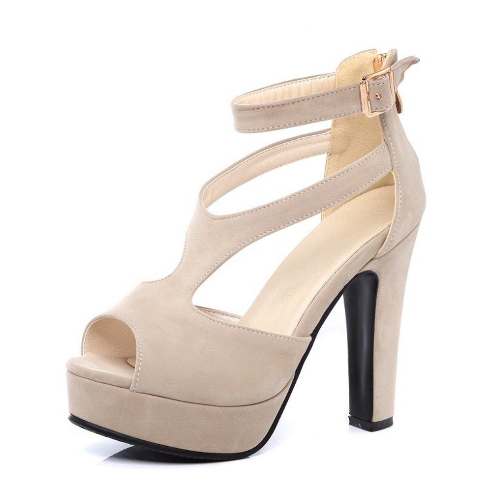 Beige GATUXUS Women Platform Open Toe High Chunky Heel Pumps Dress shoes Dance Sandals