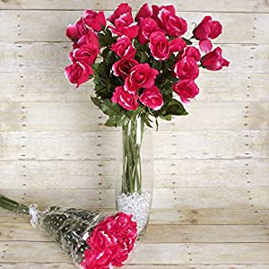 Tableclothsfactory 48 pcs Long Single Stem Rose Bundles - Wedding Artificial Flowers - Fuchsia 48