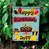 """GiftsForYouNow Personalized Happy Birthday Double Sided Garden Flag, 12 1/2"""" w x 18"""" h, Polyester Review"""