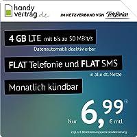 handyvertrag.de LTE All 4 GB – Inclamable mensual (Flat Internet 4 GB LTE con máx. 50 Mbit/s con Datos automáticos…