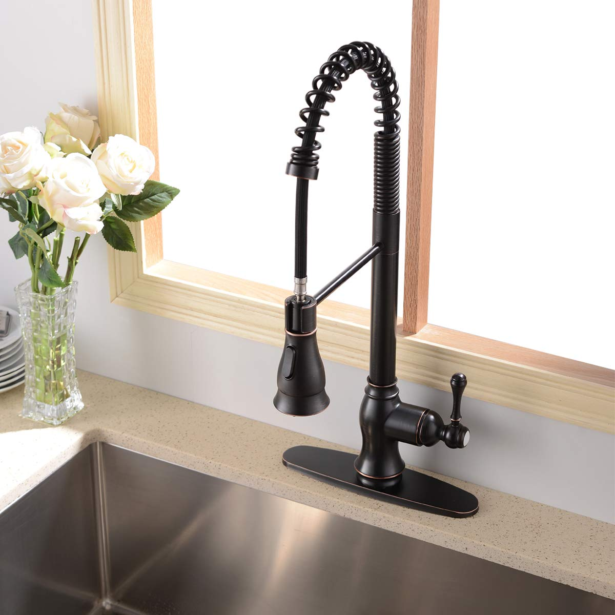 Antique Spring Single Handle Pull Down Sprayer Oil Rubbed Bronze Kitchen Faucet, Kitchen Faucet Bronze With Deck Plate by SHACO (Image #3)