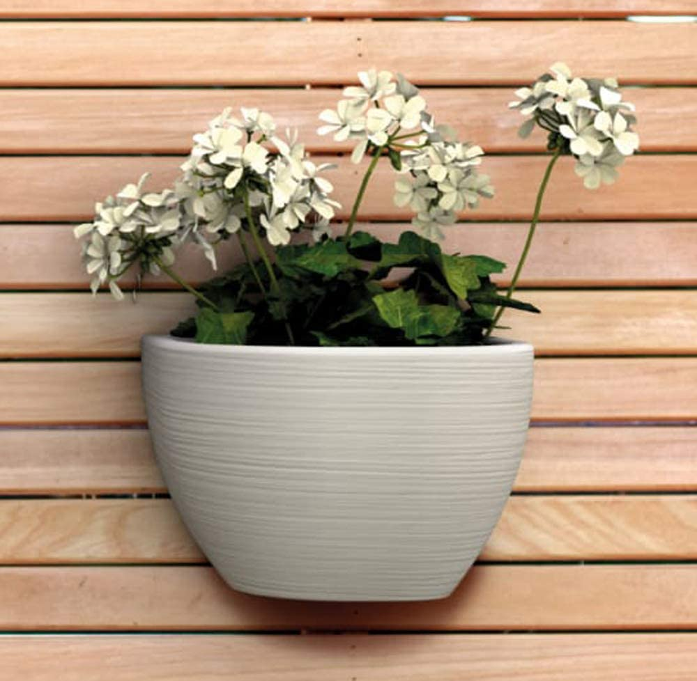 Wall Decor Planter. Hanging Pot Flower Garden Plant Basket for Home Indoor and Outdoor Grow Vase. 8,27 x 6,69 inch. (Beige Stone Effect)