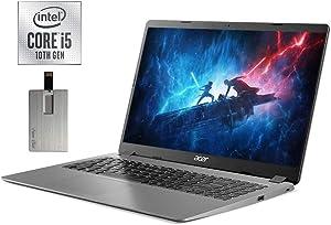 "2020 Acer Aspire 3 15.6"" FHD Laptop Computer, 10th Gen Intel Quad-Core i5-1035G1, 12GB DDR4 RAM, 256GB PCIe SSD, Intel UHD Graphics, Built-in Webcam, HDMI, Windows 10, Black, 32GB SnowBell USB Card"