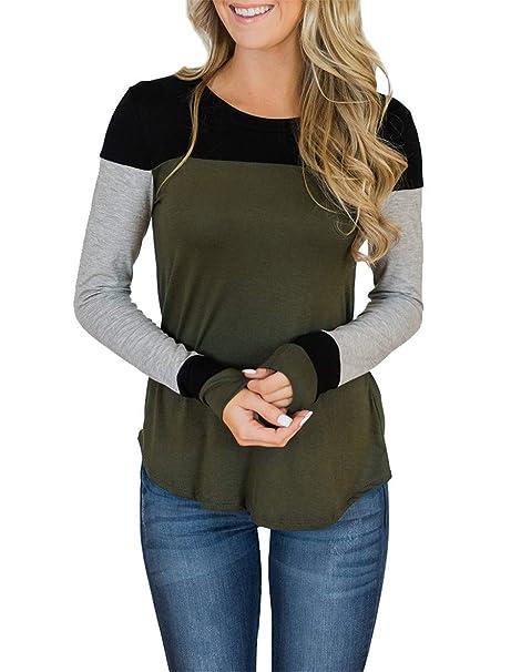 578458e03 Topstype Womens Long Sleeve Tops Crew Neck Color Block Tunics Casual  Elegant Blouse Henley Shirts Green