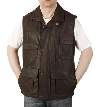 mode de luxe les mieux notés pourtant pas vulgaire Simons Leather Long gilet en cuir marron multi poches