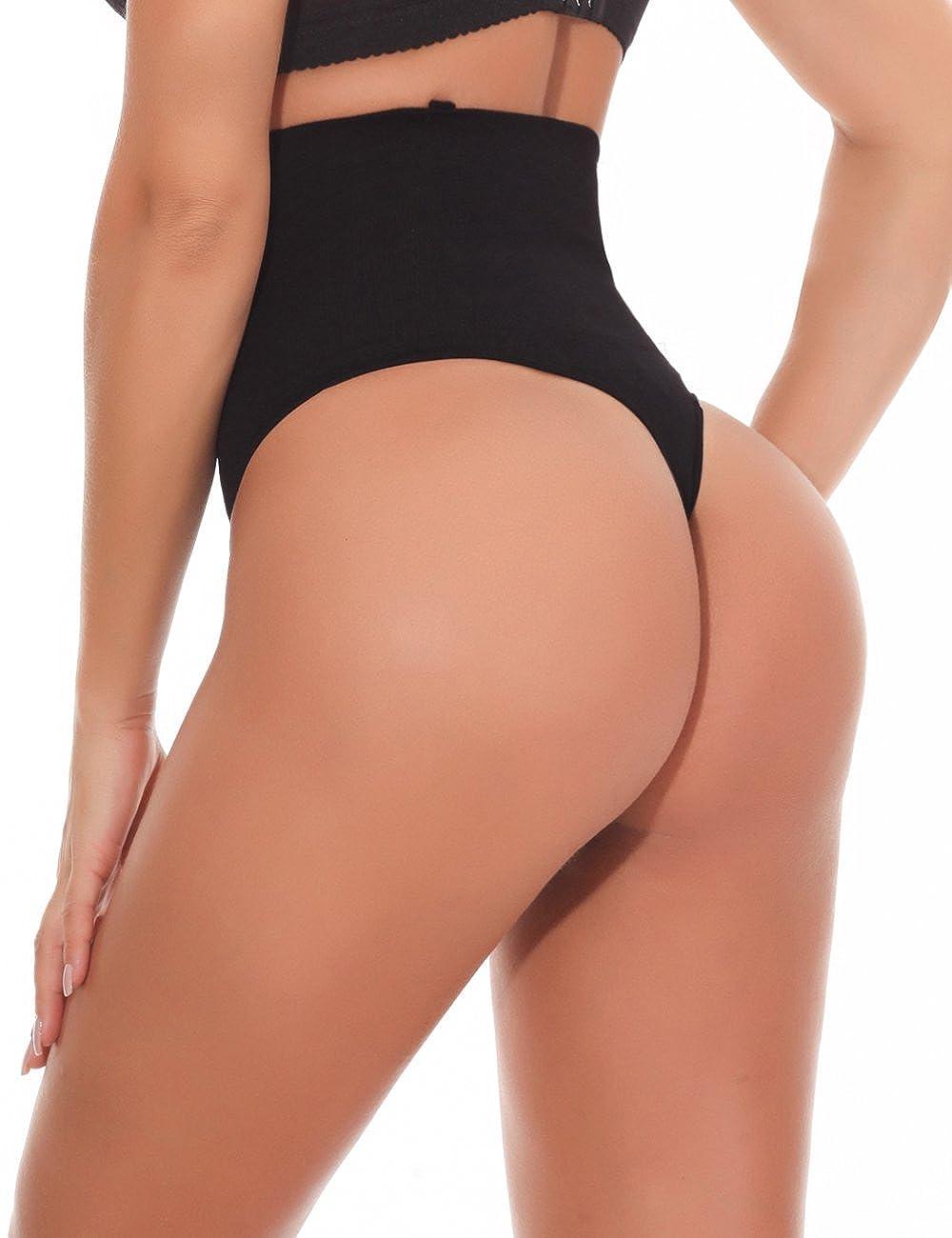 61f6964c462 NINGMI Women Waist Cincher High Waist Tummy Control Knickers Slimming Thong Panties  Underwear NMNB602