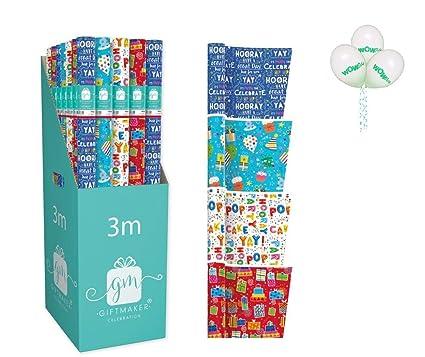 WOW - Paquete de 4 envoltorios para regalo de cumpleaños ...