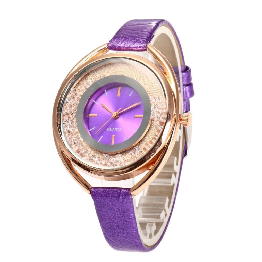 St.Dona 2018 Womens Watch PU Leather 14mm Watch Band Analog Quartz Round Watch Wrist Watch Strap Bracelet Gifts for Teen Girls/Lover (Purple)