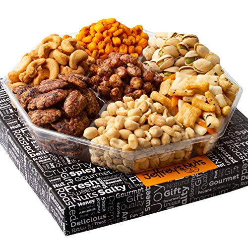 Jeffrey's Nuts Christmas Gift Baskets   Holiday Prime Nut & Snacks Assortment 7 Variety Gourmet Party Food Basket Gifts…