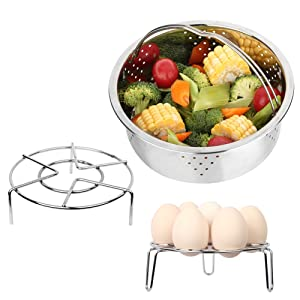 Hgrope Instant Pot Accessories Stainless Basket Rack for Electrical Pressure Cooker with Egg Molds & Vegetable Steamer Pan Tray Trivet Suit for 6 QT, 8