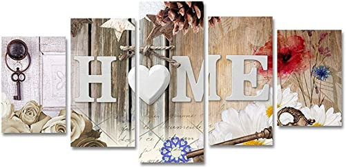 5 Panels Canvas Painting Print Heart of Love Home Art Abstract Flowers Artwork Modren Picture