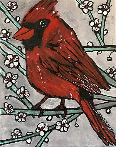 Cardinal Bird Original Painting On Canvas, Not Print,