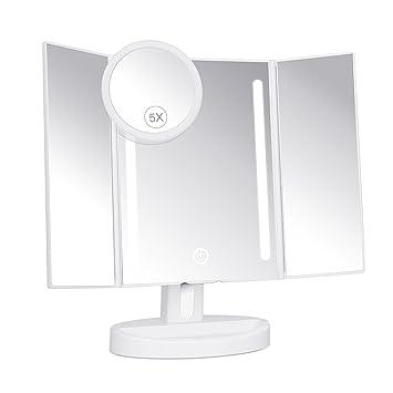 KEDSUM Miroir de Maquillage Lumineux Avec 1 Miroir De Poche 5x ...