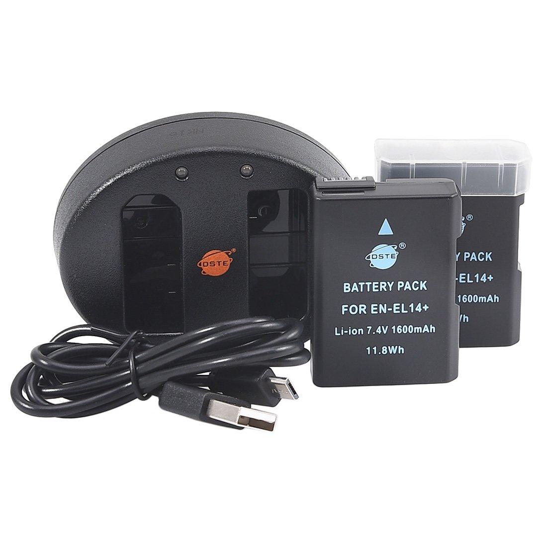 DSTE 2pcs Batería + Cargador de Batería USB para Nikon EN-EL14 EN-EL14A DF D3100 D3200 D3300 D3400 D3500 D5100 D5200 D5300 D5500 P7000 P7100 P7200 ...