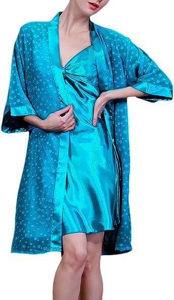 Mujer Camisones De Batas 2 Pieza Conjuntos Pijama Corto Dulce ...