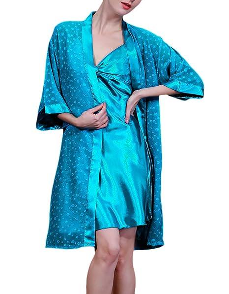 HaiDean Camisones De Mujer Batas 2 Pieza Conjuntos Pijama Corto Elegantes Modernas Casual Cómodo Respirable Camison Kimono Pijamas: Amazon.es: Ropa y ...