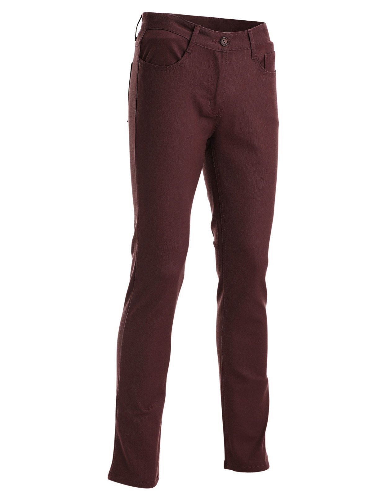 FLATSEVEN Mens Slim Fit Flat Front 5 Pocket Casual Twill Chino Pants Trousers (CH2000) Wine, 2XL