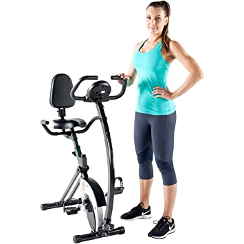 marcy foldable recumbent exercise bike with high backrest and magnetic resistance ns653