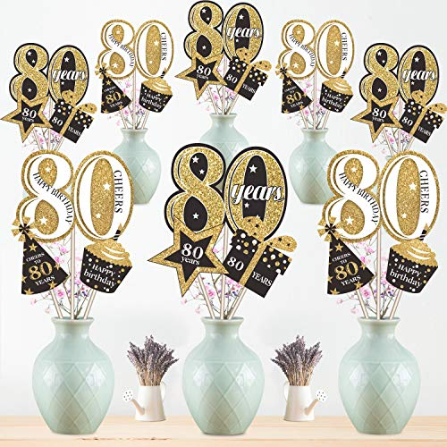 Birthday Party Table Centerpiece (80th Birthday Party Decoration Set Golden Table Toppers Glitter Birthday Party Centerpiece Sticks for 80th Birthday Party Supplies, 24 Pack)