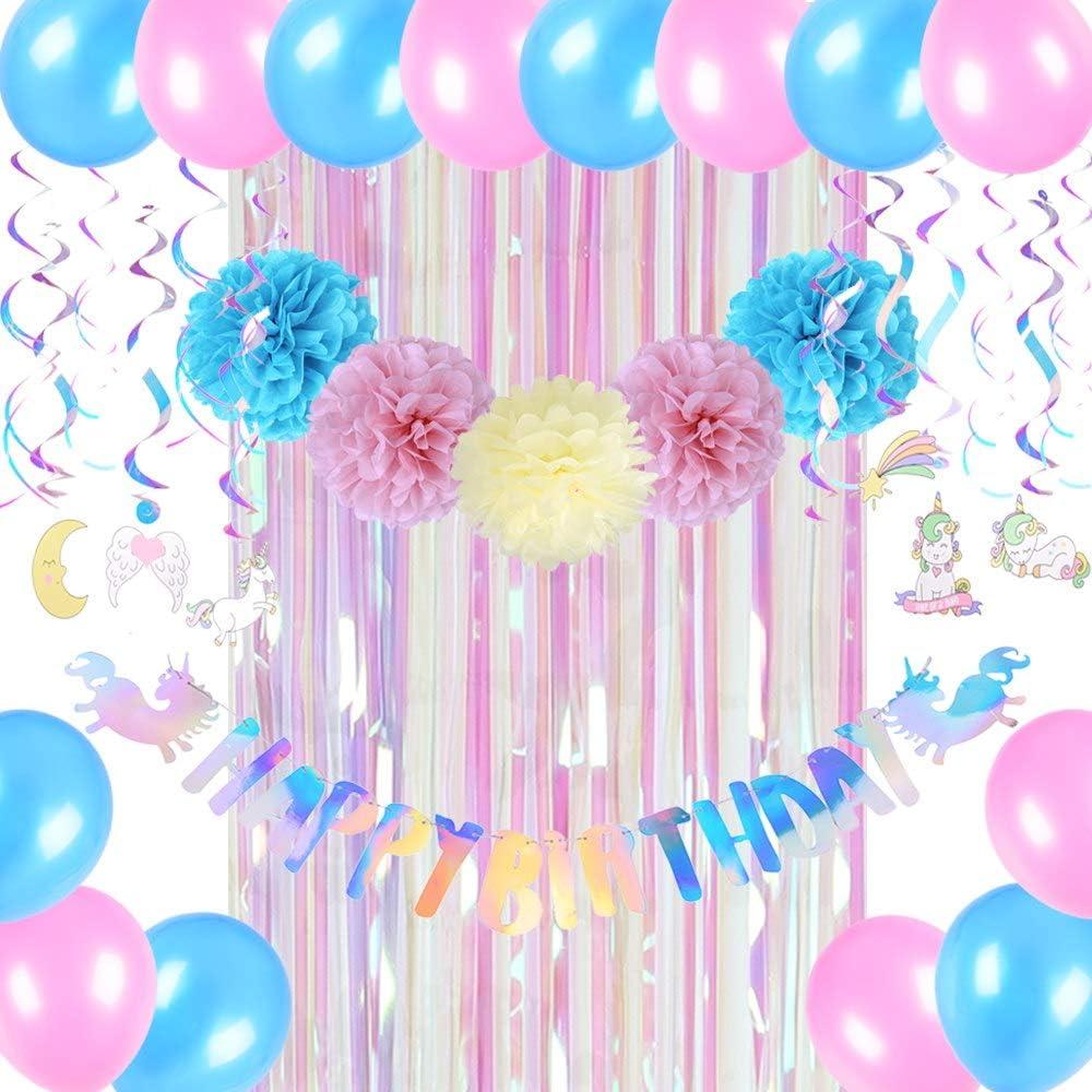Easy Joy Unicornio cumpleaños condecoraciones balón pompón Papel ...