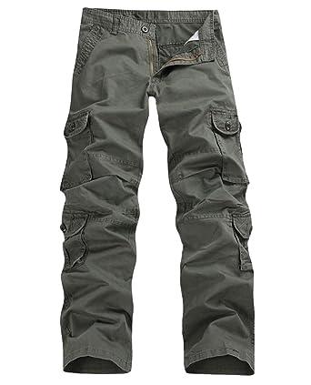 7e895a65d28 FEOYA - Homme Pantalon Long Style de Cargo en Coton pour Travail - Pantalon  Décontracté Grande