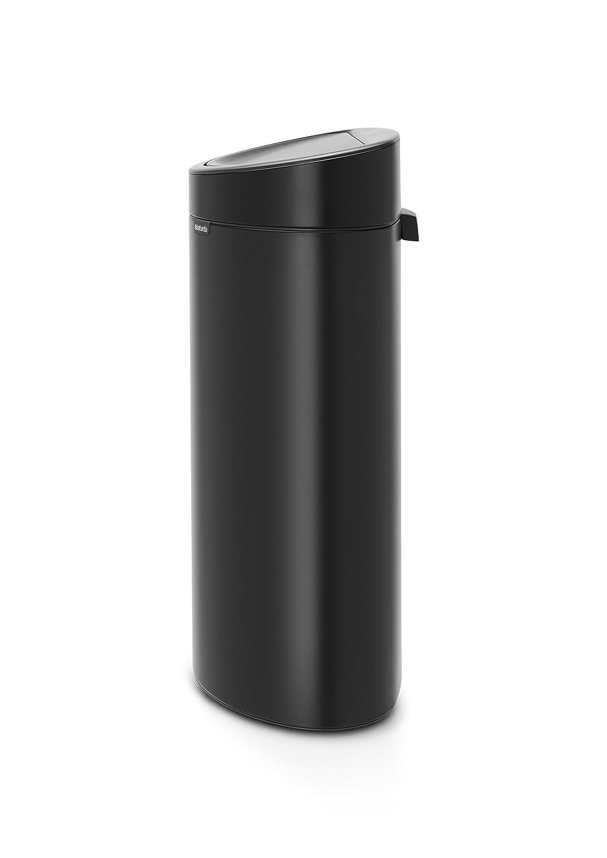 Brabantia Touch Bin Cubo de Basura, 40 litros, Acero Inoxidable, Negro