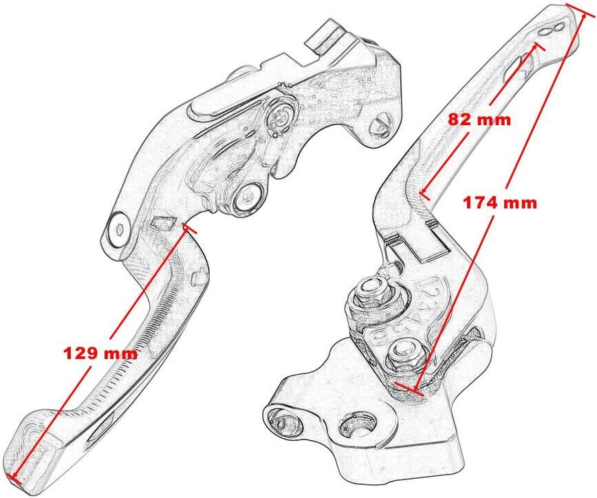 Accessoires moto Levier dembrayage de frein pliant en aluminium 3D CNC pour GSR750//GSX-S750 2011-2018 pour SV650 2016-2018 Bleu gauche et droite