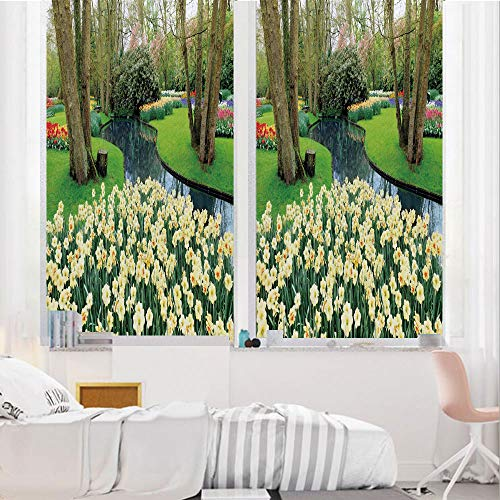 Spring Decor 3D No Glue Static Decorative Privacy Window Films, Flower Garden in Recreation Park with Fresh Grass Field and Pond Nature Scene,17.7