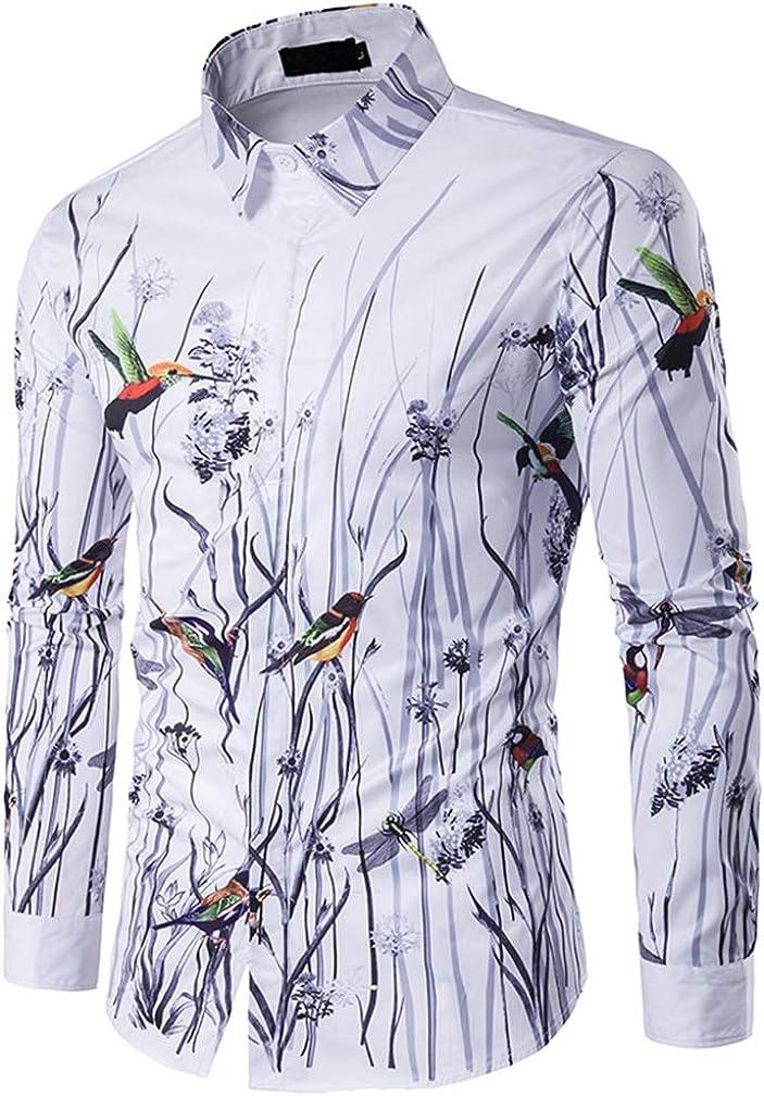 Hombres Estampado de pájaros y Flores Top de Manga Larga Camisa